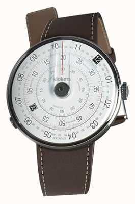 Klokers Klok 01 preto relógio cabeça marrom único alça de chocolate KLOK-01-D2+KLINK-01-MC4