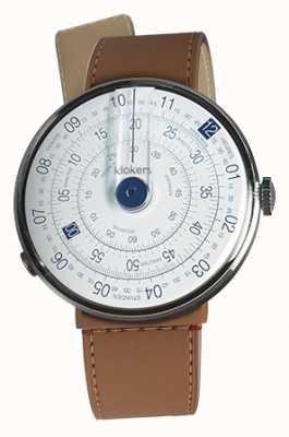 Klokers Klok 01 blue watch head caramelo marrom estreito cinta única KLOK-01-D4.1+KLINK-04-LC12