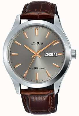 Lorus Caixa de aço inoxidável cinza mostrador pulseira de couro marrom RXN61DX9