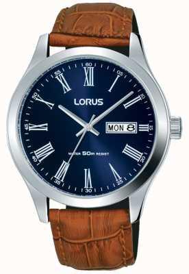 Lorus Correia de couro marrom mostrador azul escuro data e dia RXN55DX9