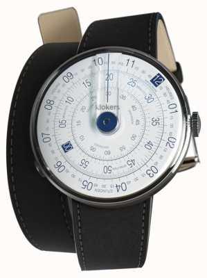 Klokers Klok 01 relógio azul cabeça mat preto cinta dupla KLOK-01-D4.1+KLINK-02-380C2