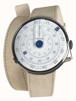 Klokers Klok 01 relógio azul cabeça cinza alcantara 420mm dupla alça KLOK-01-D4.1+KLINK-02-420C6