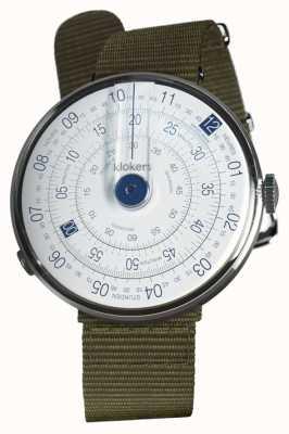 Klokers Klok 01 azul relógio cabeça líquen verde têxtil única cinta KLOK-01-D4.1+KLINK-03-MC2