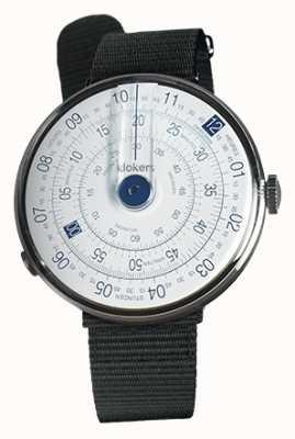 Klokers Klok 01 blue watch head pulseira preta de tecido único KLOK-01-D4.1+KLINK-03-MC3