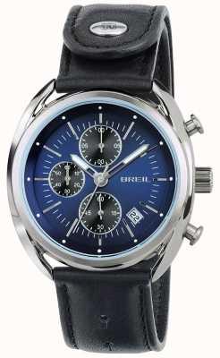 Breil Beaubourg aço inoxidável cronógrafo mostrador azul pulseira preta TW1528