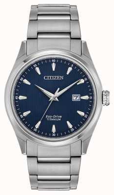 Citizen Pulseira de titânio super azul tom de discagem prata dos homens BM7360-82L
