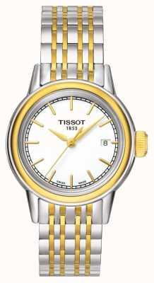 Tissot Carson womens quartz two tone swiss data feita T0852102201100