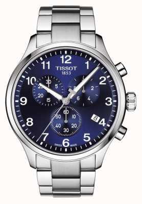 Tissot Mens chrono xl clássico azul pulseira de aço inoxidável de discagem T1166171104701