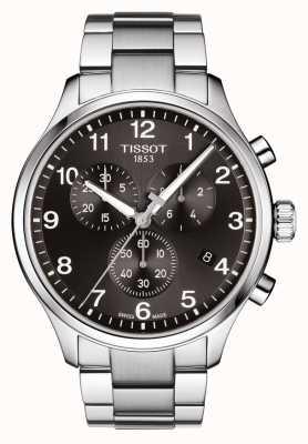 Tissot Mens chrono xl clássico preto pulseira de aço inoxidável de discagem T1166171105701