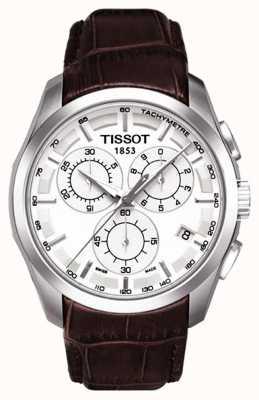 Tissot Mens coutourier cronógrafo mostrador branco pulseira de couro marrom T0356171603100
