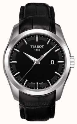 Tissot Mens coutourier mostrador preto data pulseira de couro preto T0354101605100