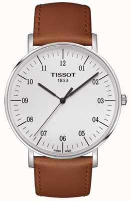 Tissot Mens everytime grande mostrador branco pulseira de couro marrom T1096101603700
