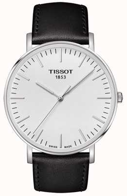 Tissot Mens everytime grande mostrador branco pulseira de couro preto T1096101603100