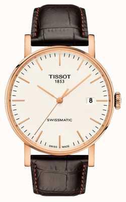 Tissot Mens everytime swissmatic subiu de ouro pulseira de couro T1094073603100