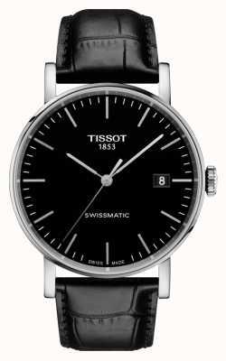 Tissot Mens toda vez suíço swissmatic mostrador preto pulseira de couro T1094071605100