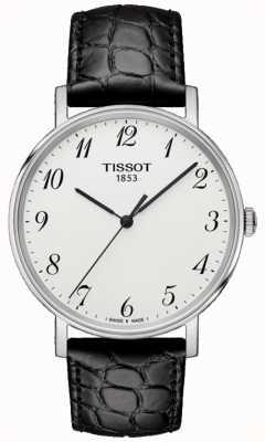 Tissot Mens everytime médio preto couro prata discagem T1094101603200