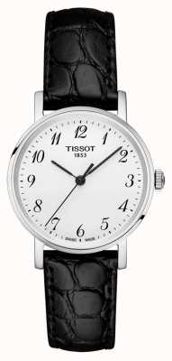 Tissot Womens everytime pulseira preta mostrador prateado algarismos arábicos T1092101603200
