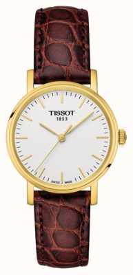 Tissot Womens everytime marrom couro banhado a ouro swiss made T1092103603100
