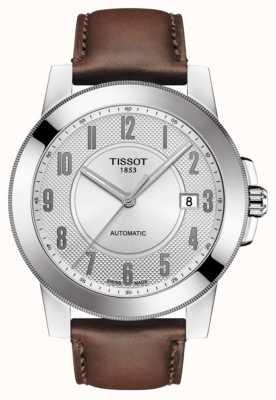 Tissot Mens gentleman swissmatic pulseira de couro marrom T0984071603200