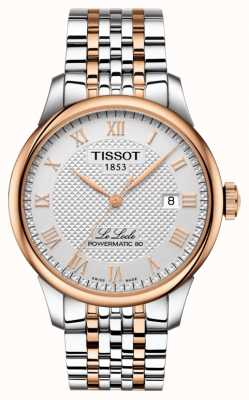 Tissot Mens locle powermatic 80 dois tons rosa banhado a ouro T0064072203300