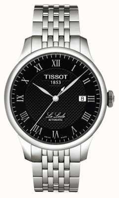 Tissot Mens le locle powermatic 80 preto dial aço inoxidável T0064071105300
