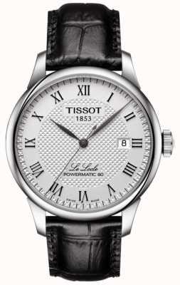 Tissot Mens le locle Powermatic 80 mostrador prateado pulseira de couro preto T0064071603300
