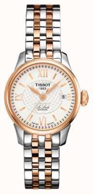 Tissot Womens le locle automático de dois tons subiu de ouro pvd banhado T41218333
