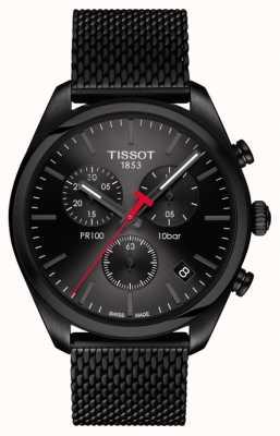 Tissot Mens pr100 cronógrafo preto pvd banhado a pulseira T1014173305100