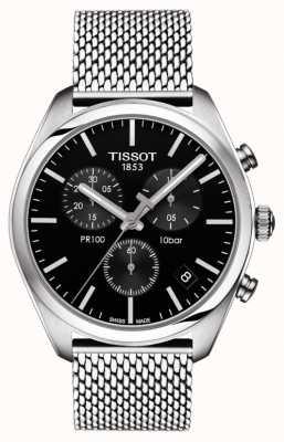 Tissot Mens pr100 cronógrafo preto pulseira de aço inoxidável de discagem T1014171105101