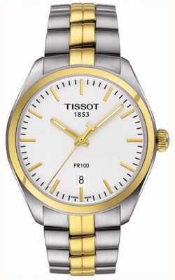 Tissot Mens pr100 aço inoxidável banhado a ouro data pulseira T1014102203100