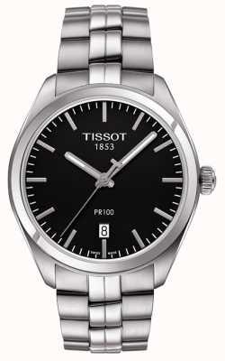 Tissot Mens pr100 pulseira de aço inoxidável de discagem preta T1014101105100