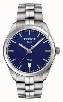 Tissot Mens pr100 pulseira de aço inoxidável mostrador azul T1014101104100