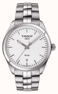 Tissot Mens pr100 aço inoxidável mostrador prateado T1014101103100