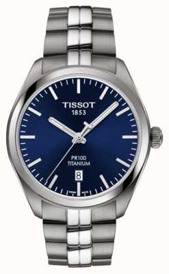 Tissot Mens pr100 titanium mostrador azul quartzo T1014104404100
