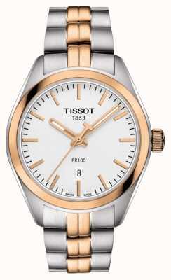 Tissot Womens pr100 dois tons pvd banhado a ouro data T1012102203101