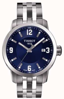 Tissot Mens prc 200 mostrador azul cronógrafo pulseira de dois tons T0554101104700