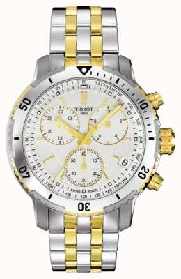 Tissot Mens prs 200 dois tons cronógrafo pulseira banhado a ouro T0674172203101