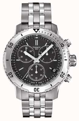 Tissot Mens prs 200 mostrador preto cronógrafo pulseira de aço inoxidável T0674171105101