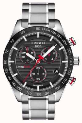Tissot Mens prs 516 cronógrafo preto mostrador pulseira de aço inoxidável T1004171105101