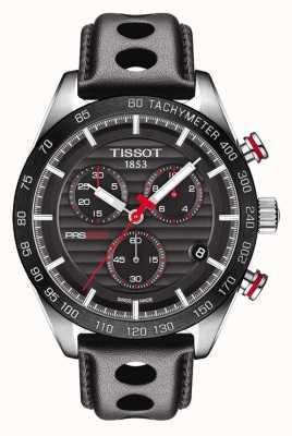 Tissot Mens prs 516 cronógrafo pulseira de couro mostrador preto T1004171605100