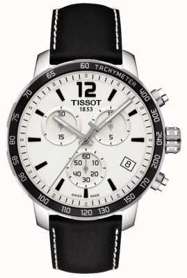Tissot Mens quickster cronógrafo mostrador branco pulseira de couro preto T0954171603700