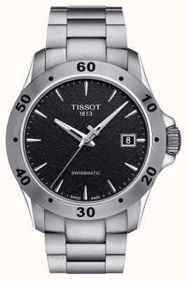 Tissot Mens v8 swissmatic black dial pulseira de aço inoxidável T1064071105100