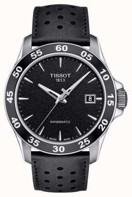 Tissot Mens v8 swissmatic mostrador preto pulseira de couro preto T1064071605100