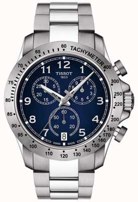Tissot Mens v8 quartzo cronógrafo azul dial aço inoxidável T1064171104200