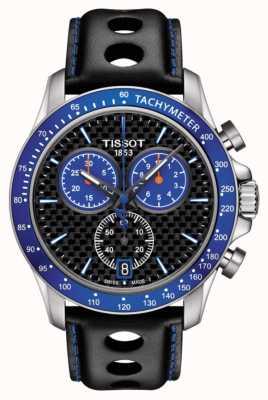 Tissot Mens v8 alpino azul discagem fibra de carbono dial preto couro T1064171620101