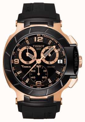 Tissot Mens t-race mostrador preto subiu banhado a ouro pulseira de borracha preta T0484172705706
