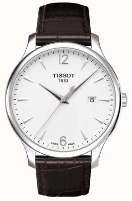 Tissot Mens pulseira de couro marrom tradição prata discagem T0636101603700