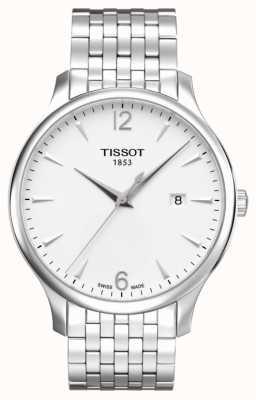 Tissot Mens prata aço inoxidável pulseira de discagem de prata T0636101103700
