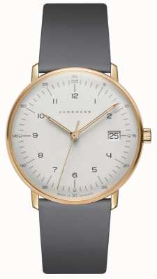 Junghans Max bill damen quartzo relógio de couro cinza 047/7854.04