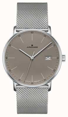 Junghans Form quartzo cinza couro cinza mostrador do relógio 041/4886.44